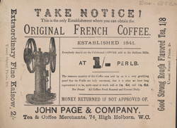 Advert For John Page & Co., Coffee Sellers